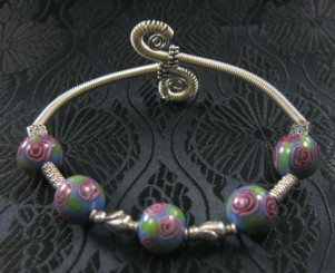 Blue/green/lavender lampwork beads & Bali style sterling bangle