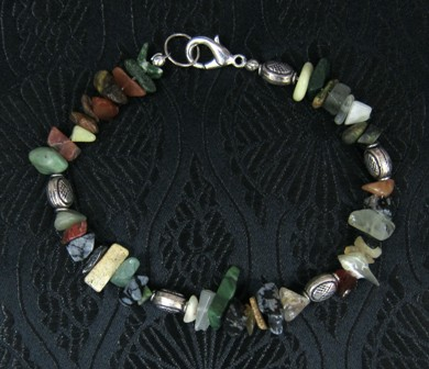 Gemstone chips with Bali sterling silver beaded bracelet
