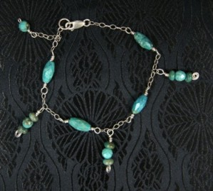 Sterling silver bracelet with turquoise dangles