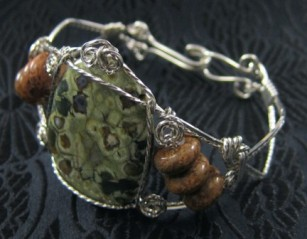 Rhyolite, chrysanthemum and sterling silver bracelet