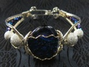 Blue/green/purple dichroic sterling silver bracelet