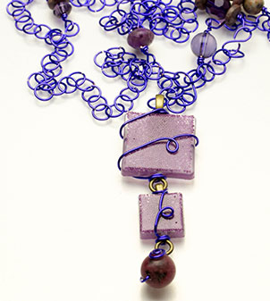 Lavender resin necklace