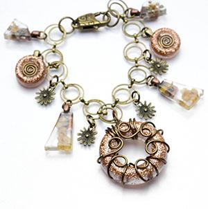Brass sun charm bracelet