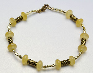 Calcite gemstone beads & gold plated rice pearl anklet
