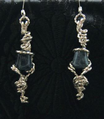 California Blue Jade Gemstone wire sculpted Earrings