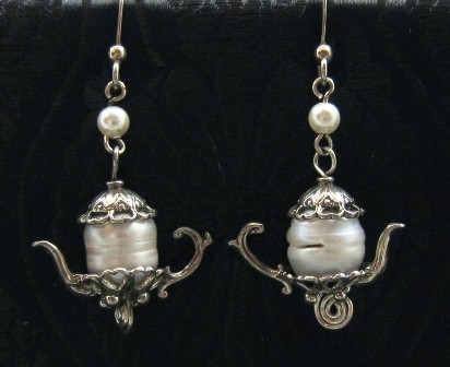 Sterling silver teapots with pearl earrings