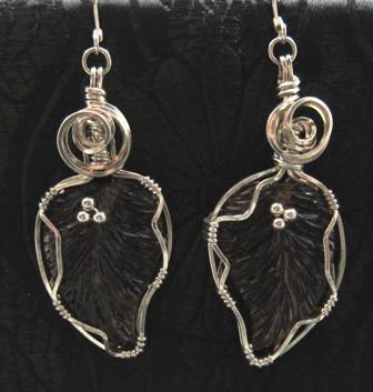 Lavender glass leaves earrings