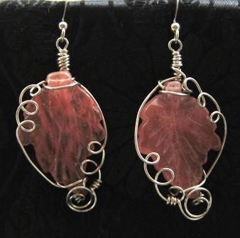 Cherry quartz glass leaf earrings