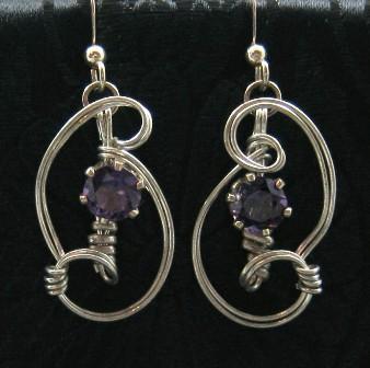 Faceted amethyst sterling silver earrings