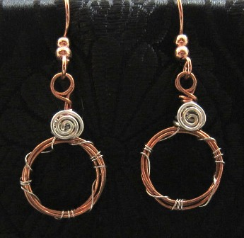 Sterling silver and copper wire circles earrings