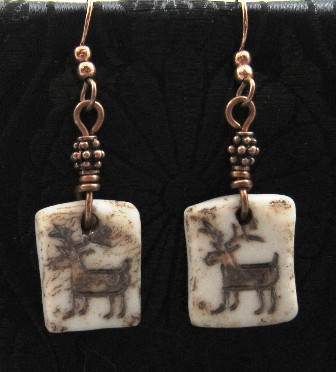 Porcelain rock petroglyph deer  earrings
