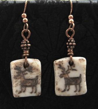 Porcelain rock petroglyph deer  earrings