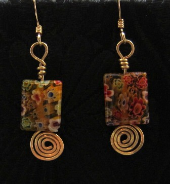 Millefiori glass beads & gold filled swirl earrings