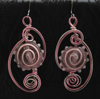 Sterling silver and rose pink beaded earrings