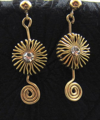 Gold crystal button & gold filled swirl earrings