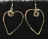 Hand sculpted gold filled heart earrings