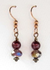 Black cherry crystal and mocha pearl earrings