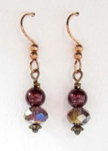 Black cherry crystal and mocha pearl earrings