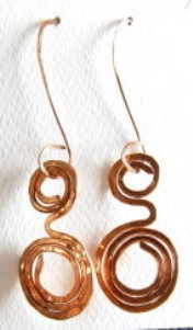 Hand sculpted hammered copper swirl earrings