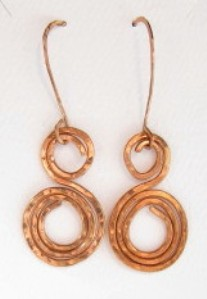 Hand sculpted copper wire swirl earrings