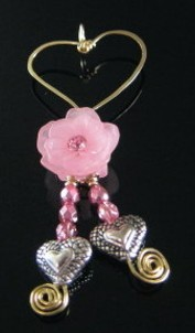 14k Gold filled heart with pink rose dangle pendant