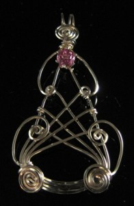 Gold and rose pink topaz pendant