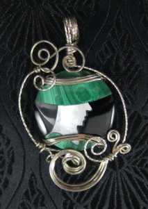 Mother of pearl inlay sterling silver pendant