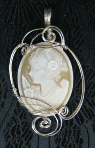 Italian shell cameo and sterling silver pendant