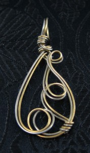 Gold and silver freeform pendant