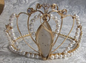 Druzy and pearl wedding tiara