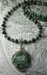 Green jasper heart hand sculpted sterling silver necklace