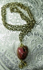 Rhodochrosite nugget brass necklace
