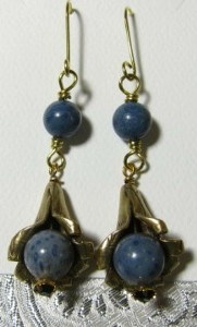 Blue coral brass calla lily earrings