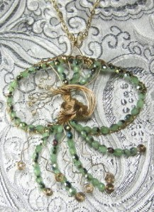 Green Czech bead and gold filled wire jellyfish pin