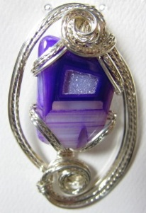 Purple crystal onyx and sterling pendant