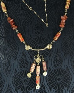 Red agate and gold filled necklace