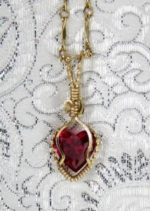 Simulated ruby heart hand sculpted necklace