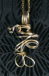 Hand sculpted freeform gold filled wire necklace