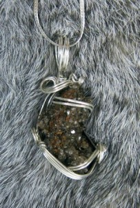 Crystal geode and sterling silver necklace