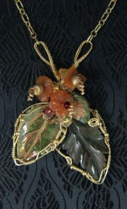 Hand sculpted double-leaf gold filled necklace