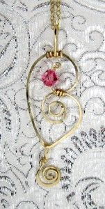 Hand sculpted 14k gold filled heart shaped necklace