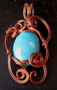 Copper and turquoise hand sculpted pendant