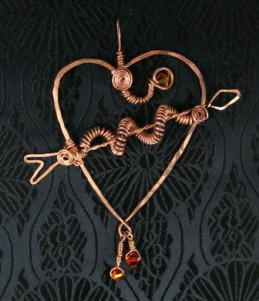 Copper arrow thru the heart wire wrapped pendant