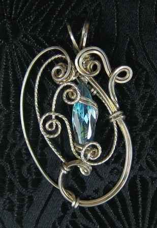 Swiss topaz and sterling silver pendant