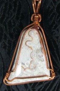 Mexican Lace Agate gemstone and copper pendant