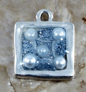 Silver plated resin pendant