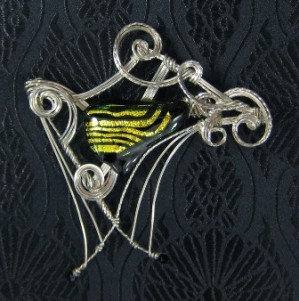 The Piano - Dichroic glass and sterling silver brooch