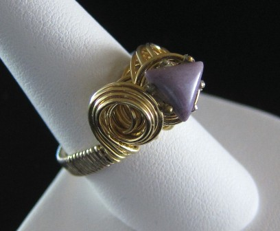 Hand Sculpted gold filled purple jade ring - Size 7 1/2