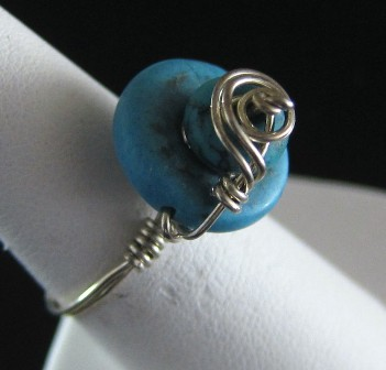 Stacked turquoise sterling silver ring - Size 7