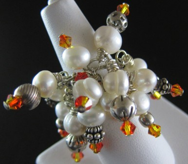 Freshwater white pearls and Swarovski fire opal crystal ring - Size 6-8